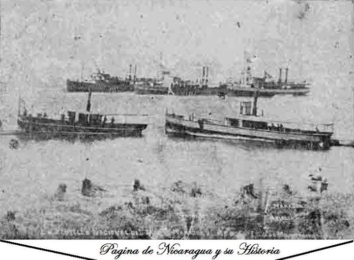 Historic Photo With Steamships At Lake Managua