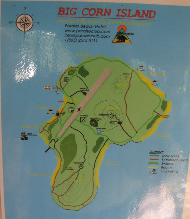 Map Of Big Corn Island Corn Island   NicaTips.com