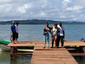desembarking at the Monkey Point dock