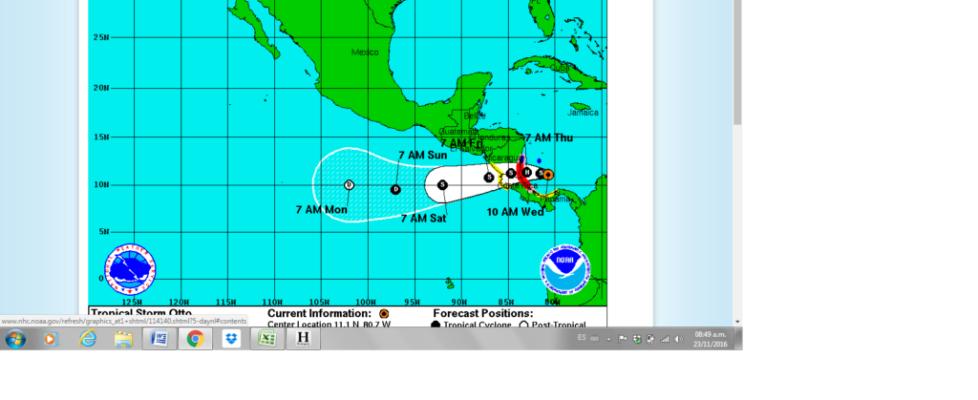 Hurricane Otto, Nicaragua